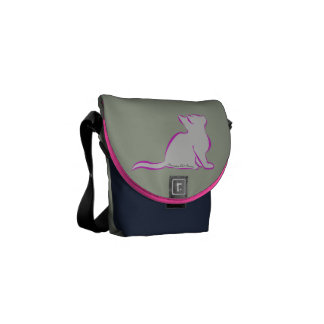Pink cat, grey fill, text/black cat silhouette courier bag
