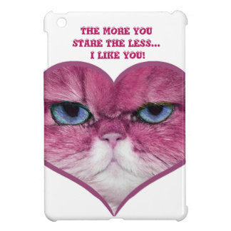 PINK CAT HEART, FUNNY SERIOUS PINK CAT IN A HEART iPad MINI CASE