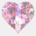 Pink Cat & Inverted Cross Heart-Shaped Sticker