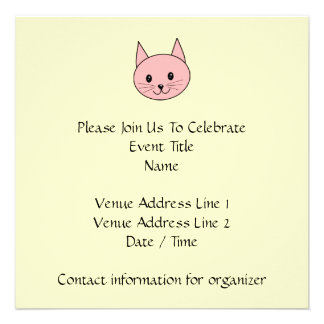 Pink Cat Personalized Invite