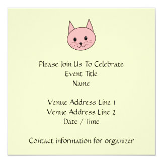 Pink Cat 5.25x5.25 Square Paper Invitation Card