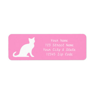 Pink cat labels with elegant return address text