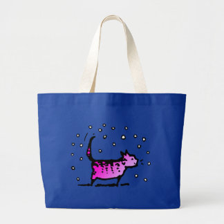 Pink Cat Large Tote Bag