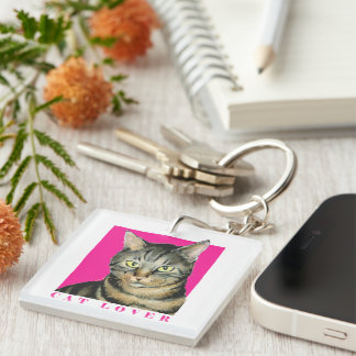 Pink Cat Lover Keychain