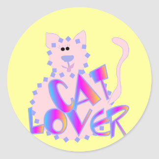 Pink Cat Lover Tshirts and Gifts Classic Round Sticker
