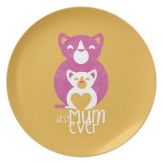 Pink cat mom dinner plate