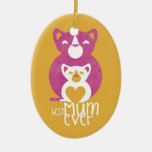 Pink cat mom Double-Sided oval ceramic christmas ornament