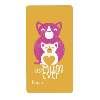 Pink cat mom shipping label