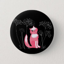 Pink cat on a black background Button