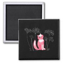 Pink cat on a black background Magnet