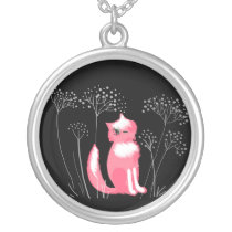 Pink cat on a black background Necklace