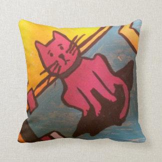 Pink Cat Painting Throw Pillow