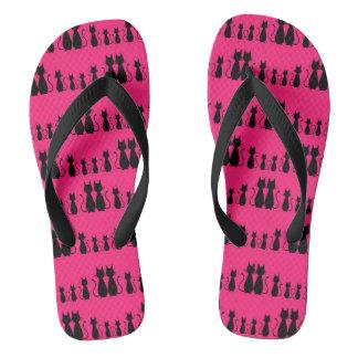 Pink Cat Pattern Flip Flops