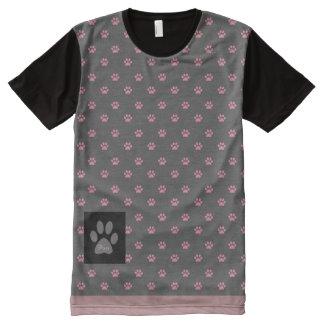 Pink Cat Paw Print Pattern T-Shirt