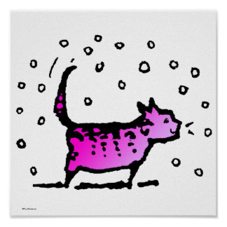 Pink Cat Poster