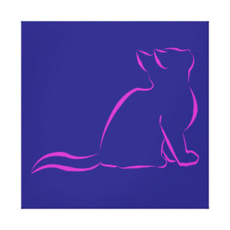 Pink cat silhouette canvas print