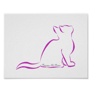 Pink cat silhouette, inside text poster