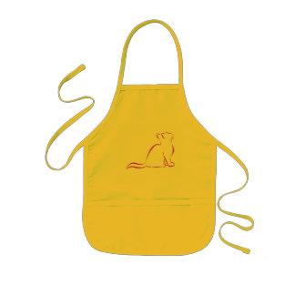 Pink cat silhouette kids' apron