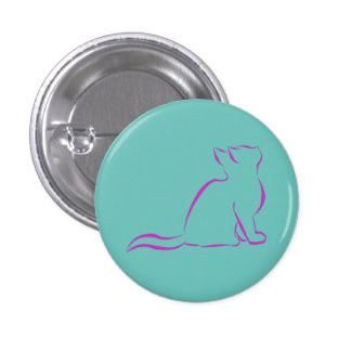 Pink cat silhouette pinback button