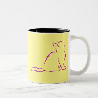 Pink cat sillhouette Two-Tone coffee mug