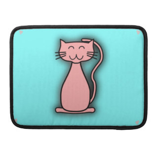 Pink Cat Smiling MacBook Pro Sleeve