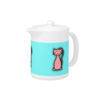 Pink Cat Smiling Teapot