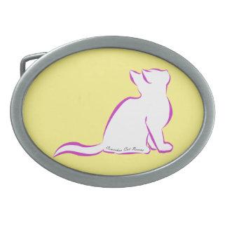 Pink cat, white fill, inside text belt buckle