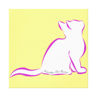 Pink cat, white fill, inside text canvas print