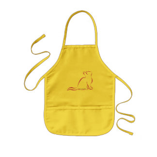 Pink cat, white fill, inside text kids' apron