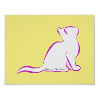 Pink cat, white fill, inside text poster