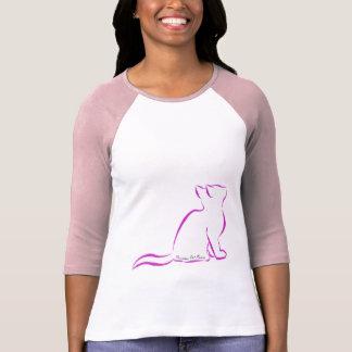 Pink cat, white fill, inside text T-Shirt