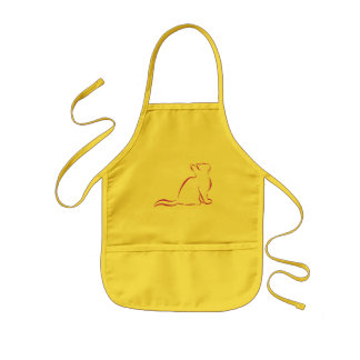 Pink cat, white fill kids' apron