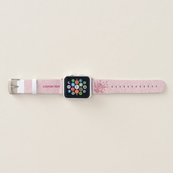 Pink Cat with Violin Apple Watch Band