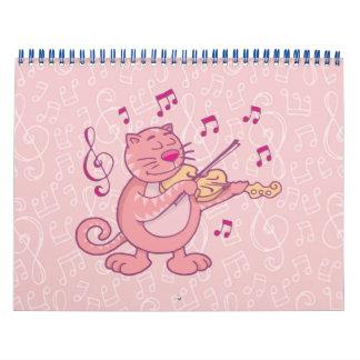 Pink Cat with Violin Calendar