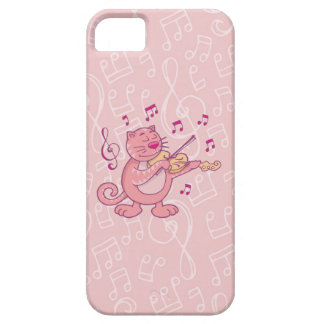 Pink Cat with Violin Case For iPhone 5/5S