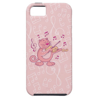 Pink Cat with Violin iPhone 5/5S Cases