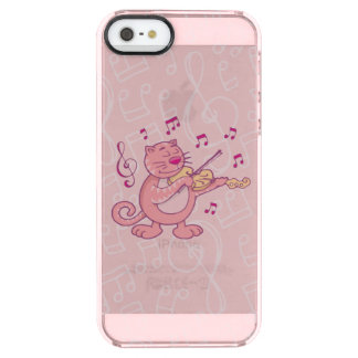 Pink Cat with Violin Clear iPhone SE/5/5s Case