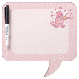 Pink Cat with Violin Dry-Erase Boards