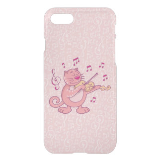 Pink Cat with Violin iPhone 7 Case