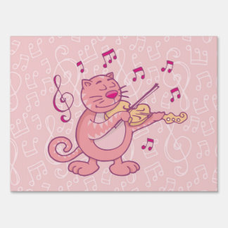 Pink Cat with Violin Lawn Sign