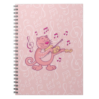 Pink Cat with Violin Notebook