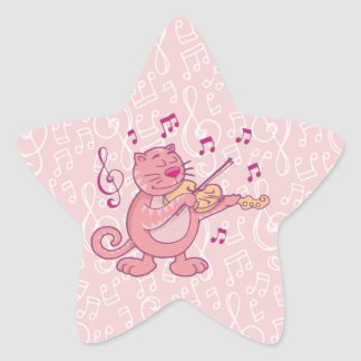 Pink Cat with Violin Star Sticker