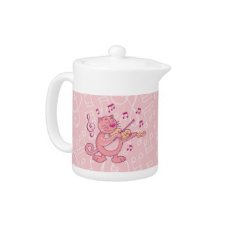 Pink Cat with Violin Teapot