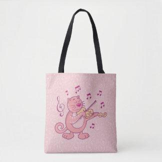Pink Cat with Violin Tote Bag