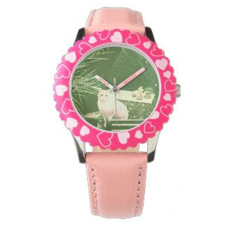 Pink cat wrist watch
