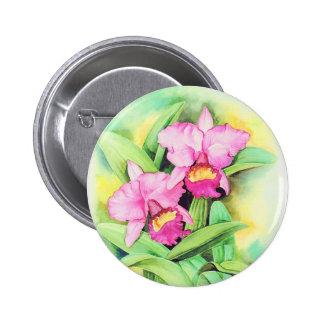 Pink Catleya Orchid Flower Art - Multi 2 Inch Round Button