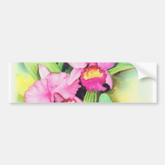 Pink Catleya Orchid Flower Art - Multi Car Bumper Sticker