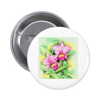 Pink Catleya Orchid Flower Art - Multi Buttons
