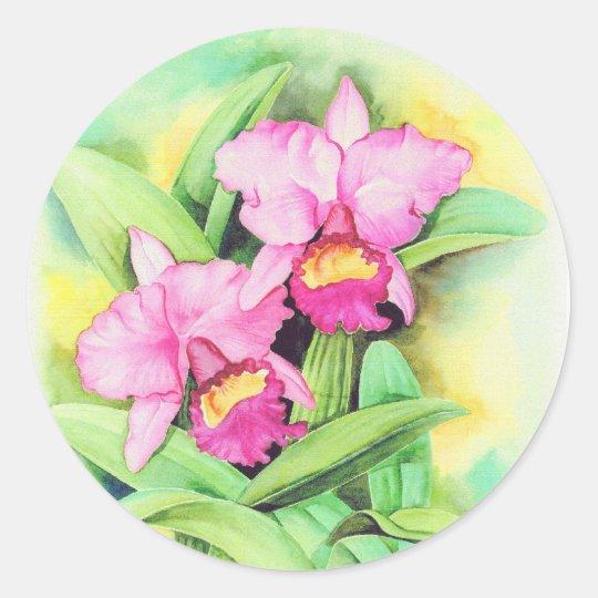 Pink Catleya Orchid Flower Art - Multi Classic Round Sticker