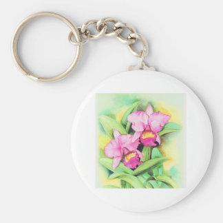 Pink Catleya Orchid Flower Art - Multi Keychain